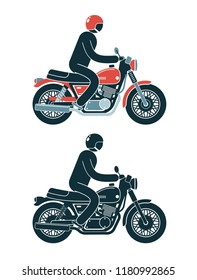 Abstract pictogram biker rides a classic motorcycle. Color and monochrome vector illustration.
