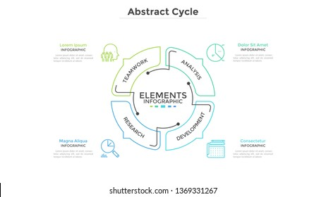 Abstract pie chart divided into 4 sectors with arrows or pointers. Four steps of startup project development cycle. Simple infographic design template. Modern vector illustration for presentation.