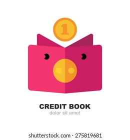 Abstract pig moneybox, book and fall coin. Vector logo design template. Modern flat concept for credit, money change, deposit, investment, bank, business.