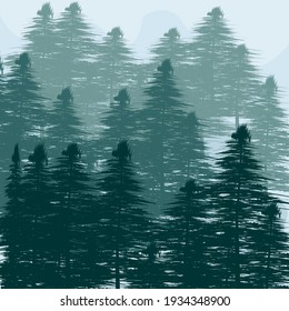 Abstract pine tree background. Vector illustration