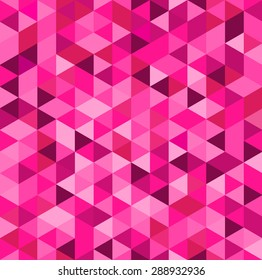 Abstract pink background with triangle pattern (vector).