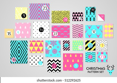 Abstract pink, blue and yellow colored twenty four various seamless patterns set. Count down till christmas collection. Advent calendar. Vector