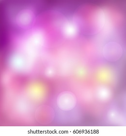 Abstract pink bokeh light background. Vector illustration