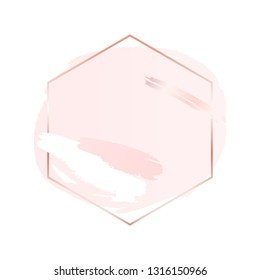 Abstract pink brush background with hexagon geometric frame rose gold color. Logo background for beauty and fashion