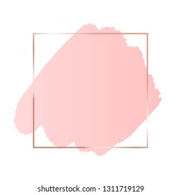 Abstract pink brush background with rectangle geometric frame rose gold color