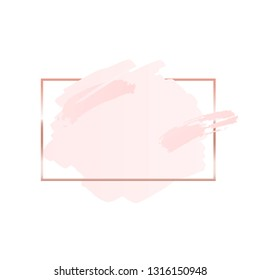 Abstract pink brush background with rectangle geometric frame rose gold color. Logo background for beauty and fashion