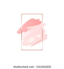 Abstract pink brush background with vertical rectangle geometric frame rose gold color