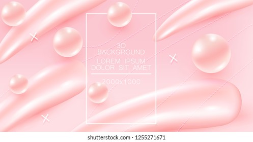 Abstract pink color background with beautiful liquid fluid for cosmetics cream posters, placards and brochures. Eps10 vector illustration.