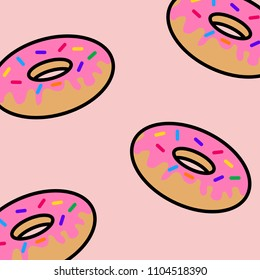 Abstract Pink Donuts, Icon Vector, Pattern,  Flat Design, Pink Background