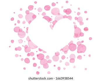 Abstract Pink dots watercolor and heart shaped space on white background. Vector illustratin.