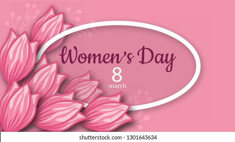 Abstract Pink Floral Greeting card - International Happy Women's Day - 8 March holiday background with paper cut Frame Flowers. Trendy Design Template. Vector illustration.
