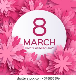 Abstract Pink Floral Greeting card - International Happy Women's Day - 8 March holiday background with paper cut Frame Flowers. Happy Mother's Day. Trendy Design Template. Vector illustration.