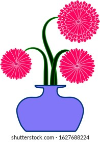 Abstract Pink Flowers In  The Big Violet Vase