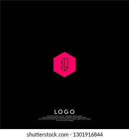 abstract pink geometric hexagon BJ logo letters design concept in shadow shape