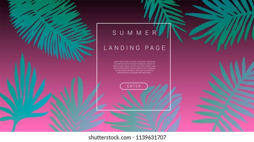 Abstract pink holographic background with green palm leaves. Design template for landing page, flyer, poster.