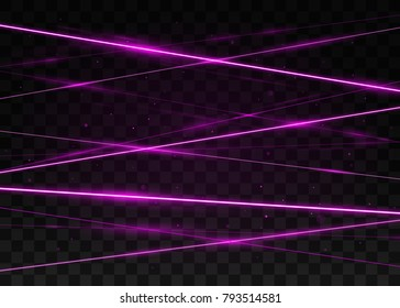 Abstract pink laser beams. Isolated on transparent black background. Vector illustration, eps 10.