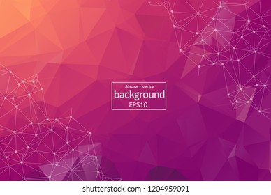 Abstract Pink light Polygonal Space Background with Connecting Dots and Lines. Geometric Polygonal background molecule and communication. Concept of science, chemistry, biology, medicine, technology.