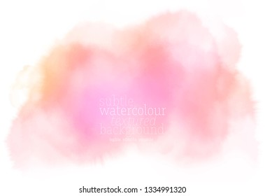 abstract pink orange textured watercolor splash on white paper background. eps 8