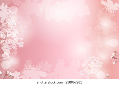 Abstract pink plants and flowers background. Cherry sakura flowers and textspace in center. EPS 10 format.