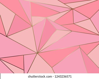 Abstract pink polygon artistic geometric with gold line background