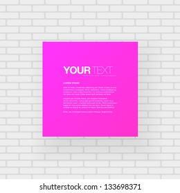 Abstract pink / purple square text box with brick wall in the background Eps 10 Vector illustration
