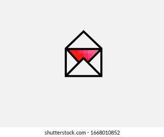 Abstract pink and red gradient logo linear icon letter envelope for your company