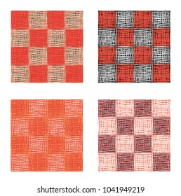 Abstract pink red squares seamless pattern set, texture background