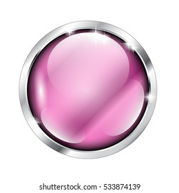 Abstract pink round background in a silver frame, with space for your text. Vector illustration, on transparent background