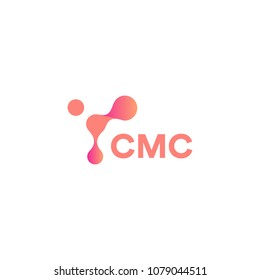 Abstract pink shape, innovation tech, unusual circles connected to each other, vector modern logo template. New molecular medical technology sign.