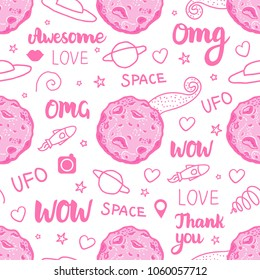 Abstract Pink space art for girls. Fashion Vector seamless pattern isolated on white background.  Lettering inscription Awesome, Omg, Space, WOW.