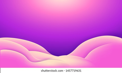 Abstract pink violet background with wavy curved shape. Eps10 vector illustration. 16:9 aspect ratio
