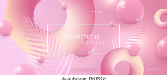 Abstract pink and yellow background with 3d soft liquid fluid shapes. Vector template for placards, banners, flyers and presentations. EPS 10 illustration.