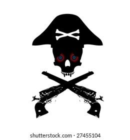 Abstract pirate symbol with crossbones, guns and colorful eyes