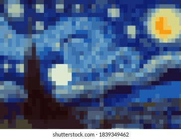 abstract pixel art background, vector illustration inspired by the painting of Vincent Van Gogh, Moonlit Night. Glowing moon and starry sky abstract background Impressionist colors in a modern version