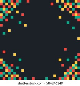 Abstract pixel background. Colored squares on dark background. Vector illustration