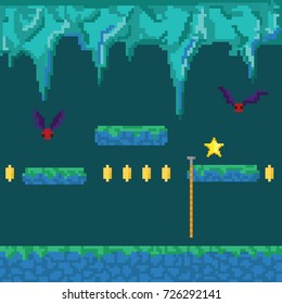Abstract Pixel cave. 8 bit pixel retro game. Vector illustration