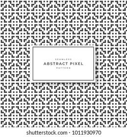 Abstract pixel pattern. Seamless pattern. Monochrome
