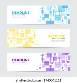 Abstract Pixel Square Element Banner Template. Spread and Random Layout. Blue, yellow, purple. Vector Illustration. Invitation, greeting, promotional design for banner, cover, web, poster, any media.