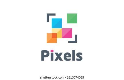 Abstract Pixels Vector Logo Design inspirations