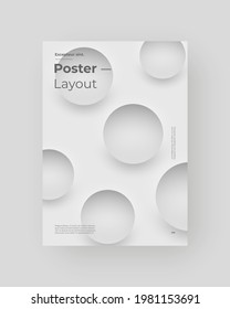 Abstract Placard, Poster, Flyer, Banner Design. Colorful illustration on vertical A4 format. 3d geometric shapes. Decorative neumorphism circles backdrop.