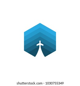 Abstract plane transportation logo design concept