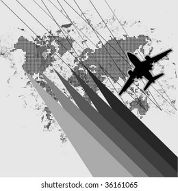 abstract plane with world map