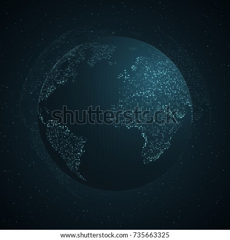 Square Earth Map.Abstract Planet Earth Blue Map Earth Stock Vector Royalty Free