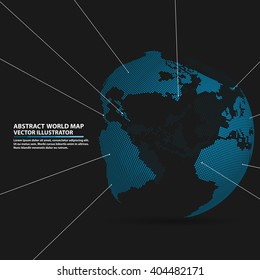 abstract planet,  Global network connection, elements Vector world map