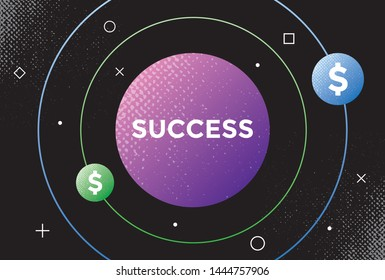 Abstract planet with satellites with dollar symbols turning in orbit around it. Concepts: business success, money attraction, company's management efficiency, auspicious economic omens and signs etc.