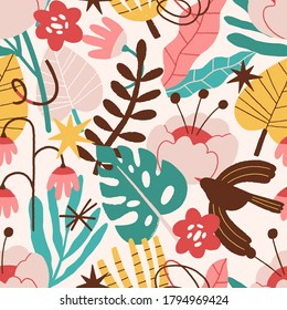Abstract plant, flowers, bird, curves seamless pattern. Contemporary branch, leaves texture. Botanical background. Floral wallpaper, textile, wrapping paper, design. Flat vector colorful illustration
