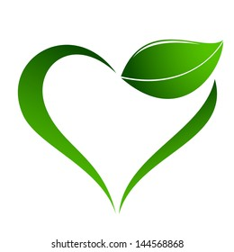 Abstract plant icon with heart element