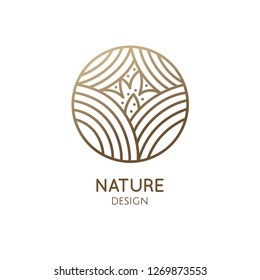 Abstract plant logo template. Vector emblem floral tree with buttons. Simple minimal badge for design of natural products, flower shop, cosmetics and ecology concepts, health, spa and yoga Center.