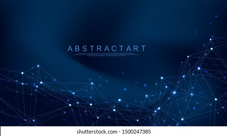 Abstract plexus background with connected lines and dots. Wave flow. Plexus geometric effect Big data with compounds. Lines plexus, minimal array. Digital data visualization. Vector illustration