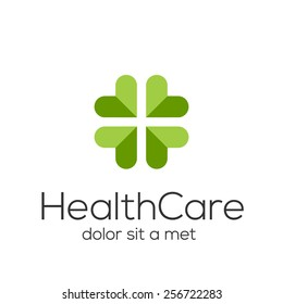 Abstract plus logo design template. Medicine cross creative sign. Heart vector icon.